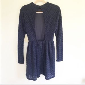 Altar'd State Dresses - NWT Altar'd State Navy Long Sleeve Open Back Dress